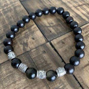 8mm Black Gold Obsidian & Wood Bracelet